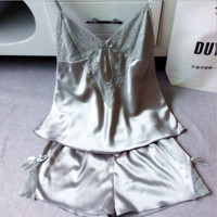 Sexy female silk suspenders tracksuit pants Pyjamas