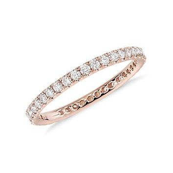 14K Rose Gold French Pave Round Cut Diamond Full Eternity Wedding Band