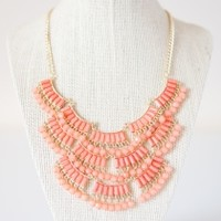 Coral Scallop Fringe Necklace | Parc Boutique