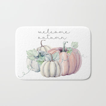 welcome autumn orange pumpkin Bath Mat by Sylvia Cook Photography