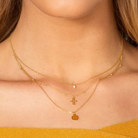 Double Crossed Layered Necklace