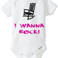 """Rock Star Baby Girl Gift: Embellished Gerber Onesuit brand body suit - """"I Wanna Rock"""" Twisted Sister 80's Metal Funny Onesuit Preemie Size!"""