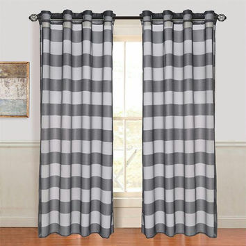 Set of 2 Lavish Home Sofia Grommet Curtain Panel - Black