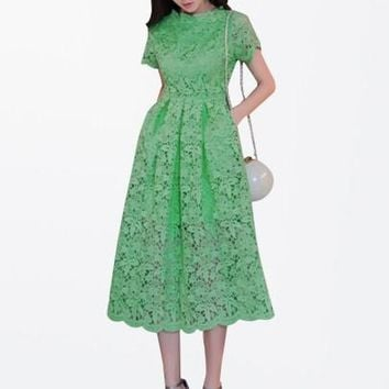 Plain A-Line Short Sleeve Women's Lace Dress