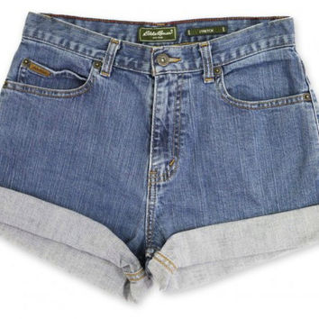 Vintage 80s 90s Eddie Bauer Blue Medium/Dark Wash High Waisted Rise Cut Offs Cuffed Rolled Jean Denim Shorts – Size 27