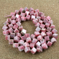 Rhodochrosite Cube Beads - Pink Grey and Ivory Smooth Striped Diagonally Drilled Cube Beads, 16 inch strand