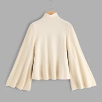Mock Neck Bell Sleeve Jersey Jumper -SheIn(Sheinside)