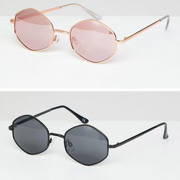 ASOS DESIGN 2 Pack Hexagon Sunglasses at asos.com
