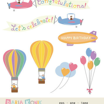 Birthday Clip Art Set Birthday Sky-birthday clipart, balloons, hot air balloons, planes, zeppelin, instant download, eps, jpeg, png
