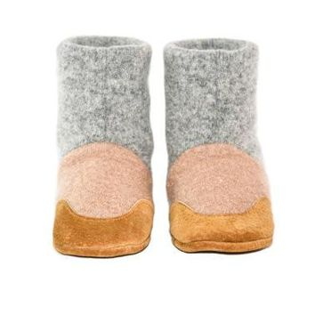 Toddler Slipper Boots, Baby Cashmere Shoes, Non Slip Leather Soles