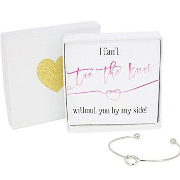 Bridesmaid Gifts  Tie The Knot Bracelet wGift Box Bridesmaid Proposal Gift Love Knot Jewelry Bridal Party Gift Sets Gold Rose Gold Silver