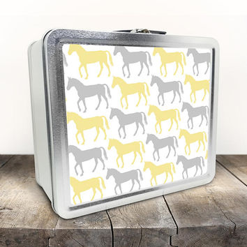 Yellow Gray Horse Lunch Box - Pattern with Alternating Yellow and Gray Horses - Tin School Lunch Art Craft Supplies Box