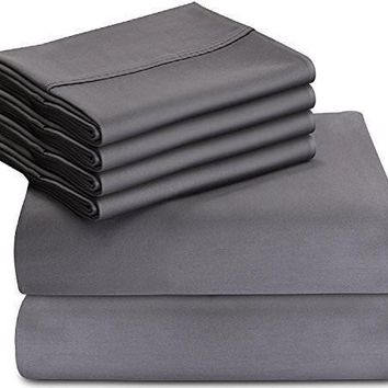 Bed Sheet Set - 6 Piece With 4 Pillow Cases Soft Brushed Microfiber Wrinkle