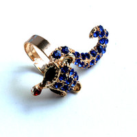 """She's A Fox"" Gold Fox Ring With Blue Diamond Accent"