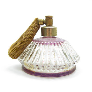 DeVilbiss Atomizer Purple Fluted with Pink Polka Dots Vintage Perfume Bottle Spritzer