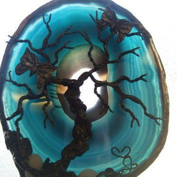 BUTTERFLY KISSES -- Blue TREE OF LIFE Agate | HeartJCreations - Metal Craft on ArtFire