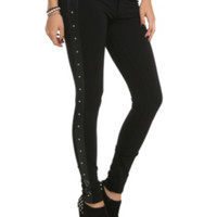 Black Side Panel Studded Pants