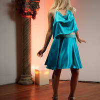 SALE! 30% Off. Was 145, Now 101. Dance inspired silk skirt in vibrant turquoise color. Tango skirt. Party skirt