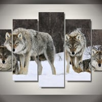 Wild Wolf Pack In Winter Snow 5-Piece Wall Art Canvas