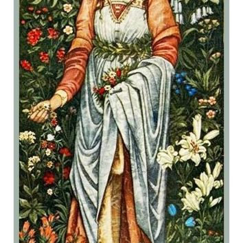 Flora Maiden by Burne-Jones and Morris Counted Cross Stitch or Counted Needlepoint Pattern