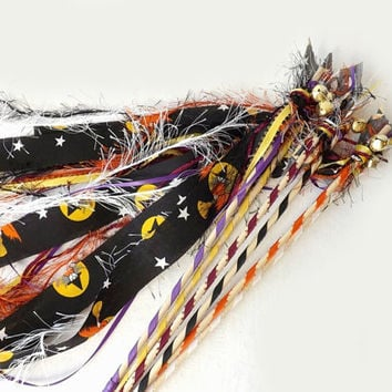 12 Halloween Party Favors, Fun Fur & Fabric Wands, Streamers with Bell, Party Table Decor, Halloween Wedding Wands