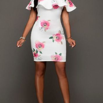 White Floral Print Ruffle Boat Neck Backless Prom Evening Party Mini Dress
