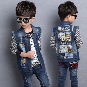 Trendy Boys Denim Vest Sleeveless Denim Jacket For Girls Autumn Cowboy Waistcoats Jeans Jackets For Children Casual Kids Vest 3-13Yrs AT_94_13