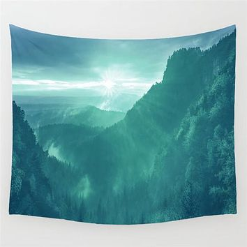Misty Forest Viewpoint Wall Tapestry