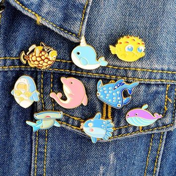 Trendy Miss Zoe Cartoon cute marine life shark whale dolphin Pins Lapel pins Denim Jacket Pin Buckle Shirt Badge Fashion Gift for Kids AT_94_13