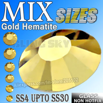 All Sizes Mix Gold Hematite Nail Art Rhinestones SS3 SS4 SS5 SS6 SS8 SS10 SS12 SS16 SS20 SS30 strass glitters Non HotFix crystal