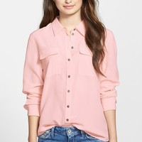 Petite Women's Two by Vince Camuto Silk Utility Blouse