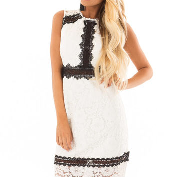 White Sleeveless Lace Midi Dress with Black Contrast Detail