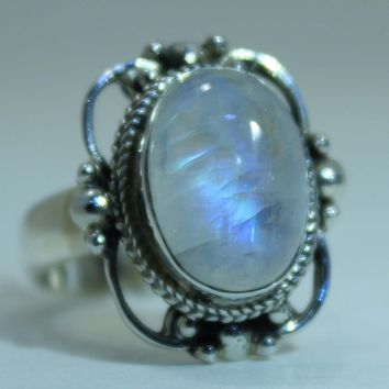 Sterling Silver Victorian Lace Ring with Rainbow Moonstone