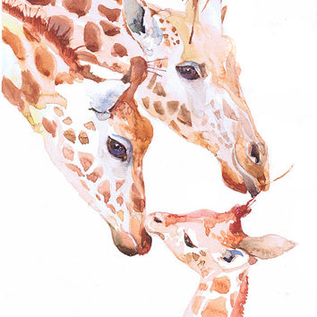 Giraffe print, animal art painting, watercolor, nursery, african animals art print, animal art for kids, giraffe drawing, funny giraffe