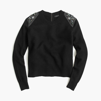 J.Crew Womens Jeweled Wool Back-Zip Sweater