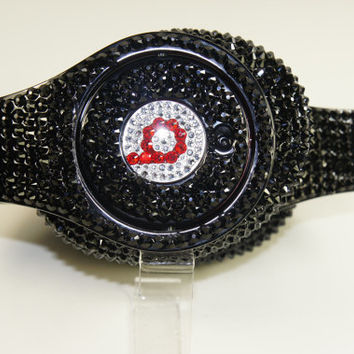 Beats by Dre Headphones Customized with Swarovski Elements and Custom Lettering