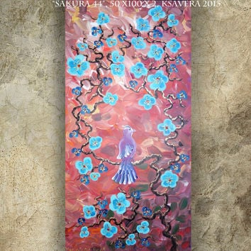 BIRD art on SAKURA TREE art love painting contemporary artwork orange and blue acrylic on canvas by Ksavera gift ideas for her decor