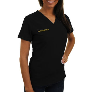 Oregon Ducks New Balance Women's V-Neck Performance Scrub Top – Black