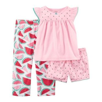 CREY7GX Toddler Girl Carter's 3-pc. Watermelon Pajama Set | null