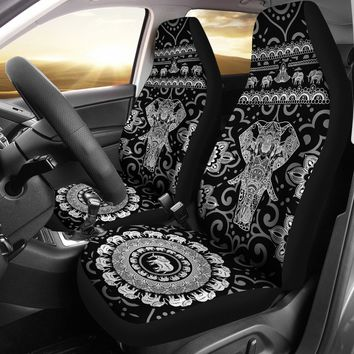 Black & White Elephant Car Seat Covers Universal Fit