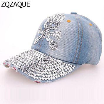 VONEFX8 2017 Summer Shining Manual Drill Caps For Women Casual Girls Denim Baseball Caps Fashion Skull Pattern Hats Free Shipping SY571
