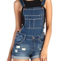 Denim Overall Shorts - Blue