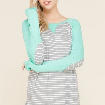 Mint & Gray Striped Elbow Patch Top - SM-3X