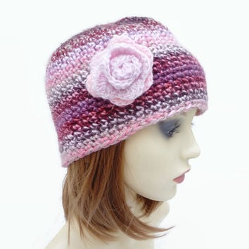 Adult Crochet Hat with Flower Detail Pink