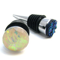 Crystal Wine Stopper - Available In Blue Druzy Or Pink Opal - Silver Tone Metal & Rubber Wine Or Oil Bottle Cork