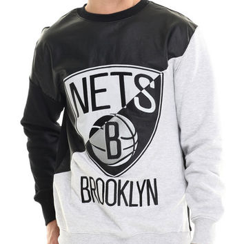Brooklyn Nets Faux leather Panel applique Sweatshirt w/ side zipper detail by NBA, MLB, NFL Gear