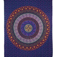 Purple Plum And Bow Medallion Mandala Hippie Tapestry Indian Bohemian Wall Hanging - RoyalFurnish.com