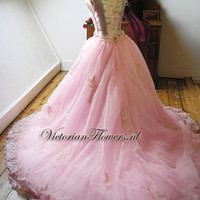 OOAK Lovely romantic pink princess ball gown by VictorianFlowers