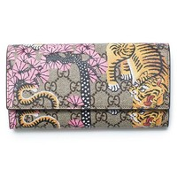 DCCK Gucci Bengal Pink Mixed Tiger Fabric leather Flap Snap Bra Wallet New