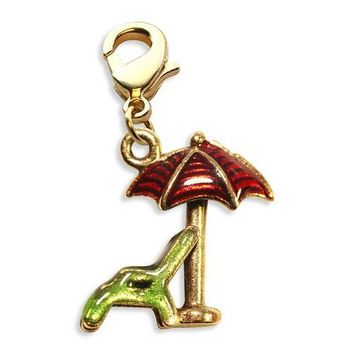 Beach Chair with Umbrella Charm Dangle in Gold
